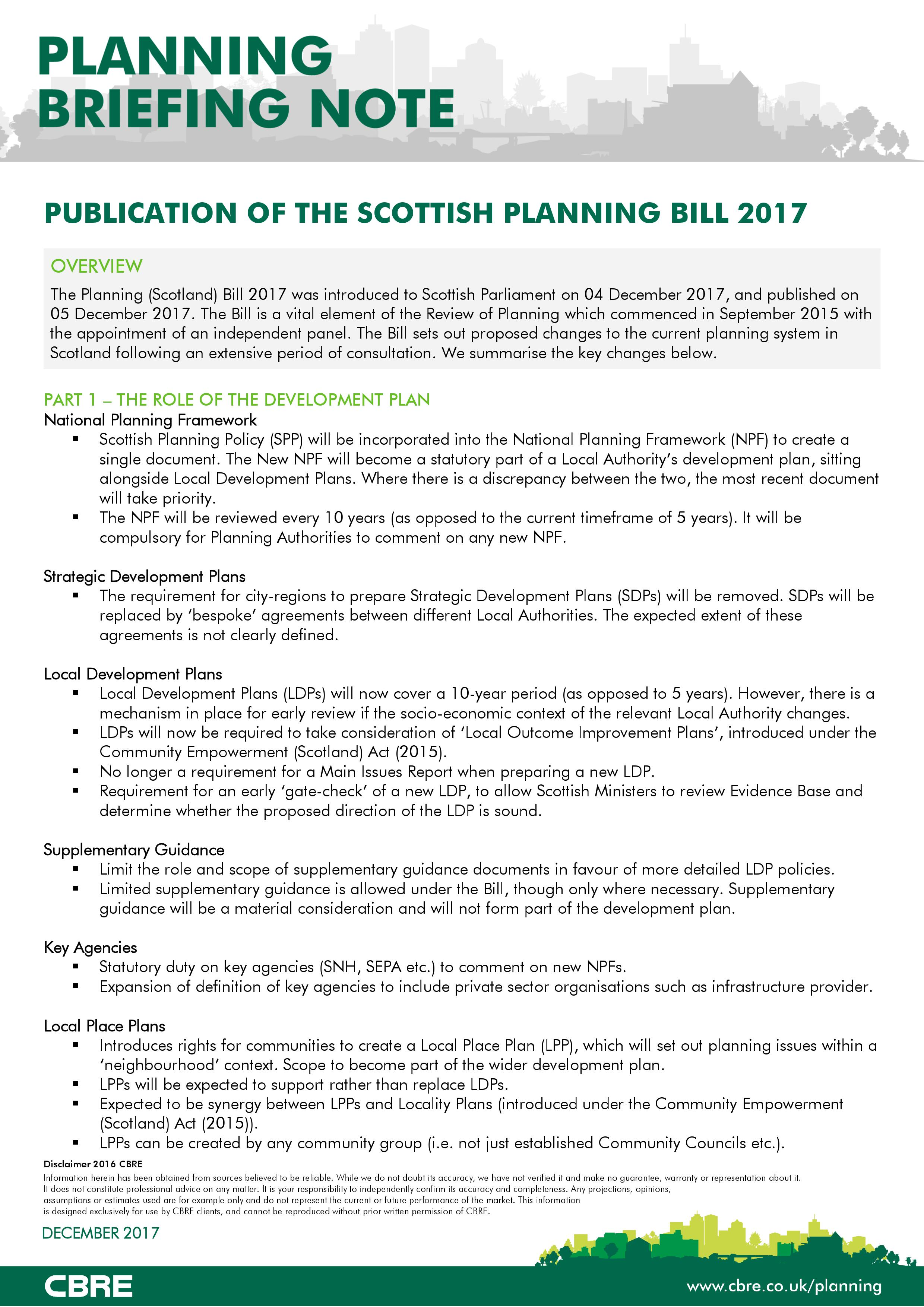Scottish Planning Bill 2017